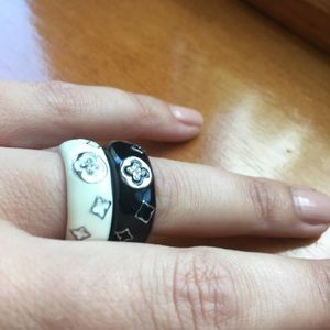 White Enamel Ring With Small Crystal Detail